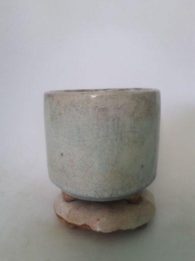 Bát nhang bạch định gốm Lái Thiêu xưa trọn bộ cao 13cm, đk 10.5cm0