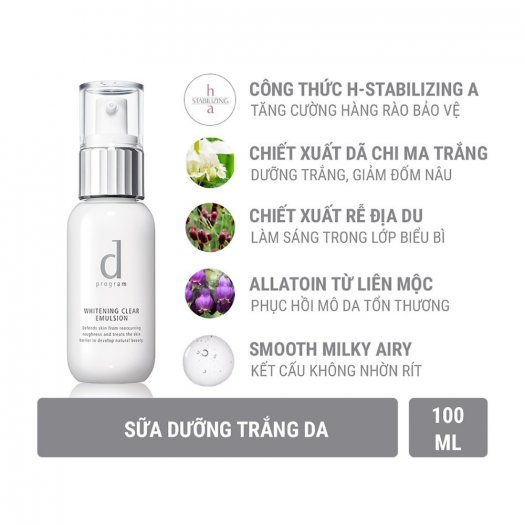 Sữa dưỡng D Program trắng da Whitening Clear Emulsion 100ml2
