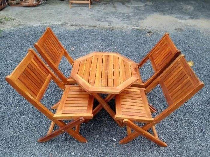 Bàn ghế gỗ cốc vỉa hè giá rẻ0