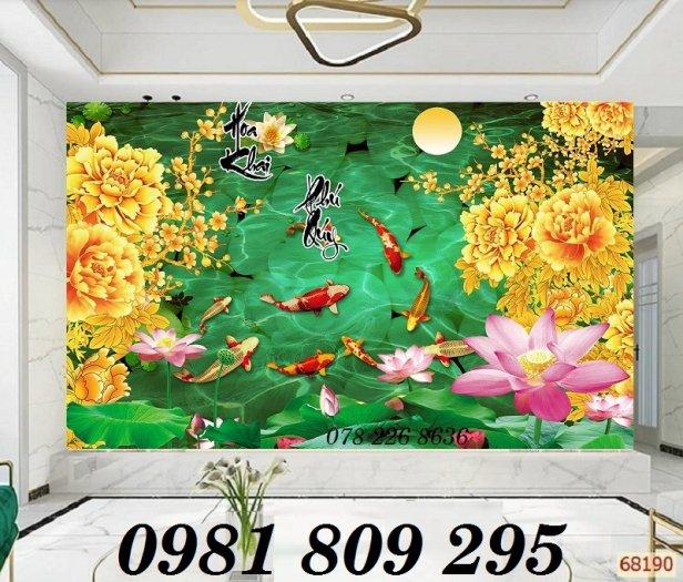 Tranh trang trí - gạch 3d hoa sen cá chép3