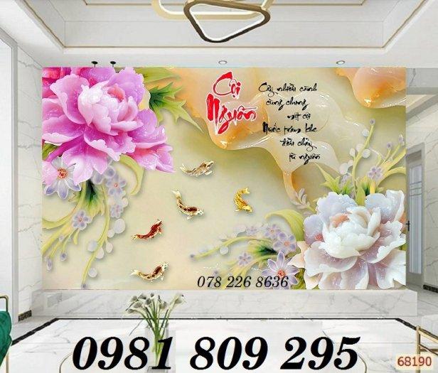 Tranh trang trí - gạch 3d hoa sen cá chép1