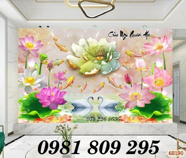Tranh trang trí - gạch 3d hoa sen cá chép0