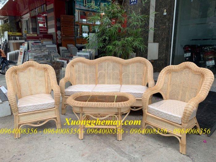 Bộ bàn ghế sofa mây tre, sofa salon mây tre đan25