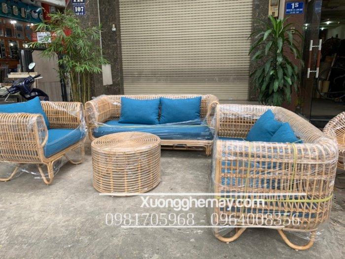 Bộ bàn ghế sofa mây tre, sofa salon mây tre đan24
