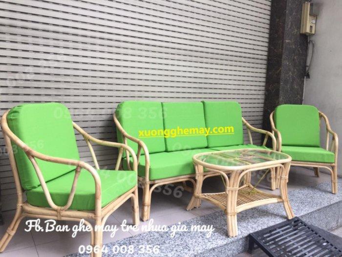 Bộ bàn ghế sofa mây tre, sofa salon mây tre đan20