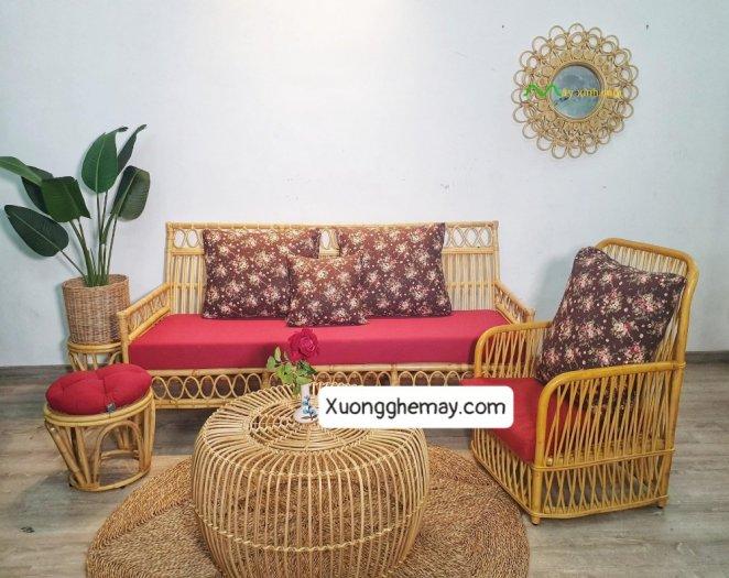 Bộ bàn ghế sofa mây tre, sofa salon mây tre đan13