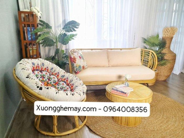 Bộ bàn ghế sofa mây tre, sofa salon mây tre đan12