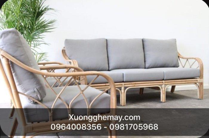 Bộ bàn ghế sofa mây tre, sofa salon mây tre đan11