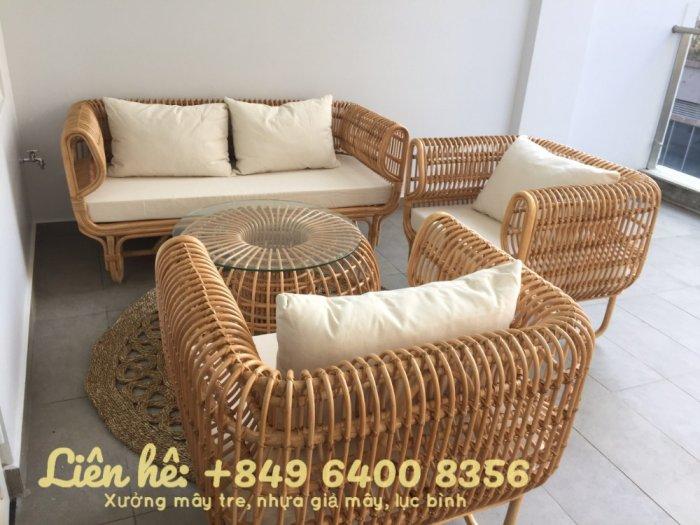 Bộ bàn ghế sofa mây tre, sofa salon mây tre đan10