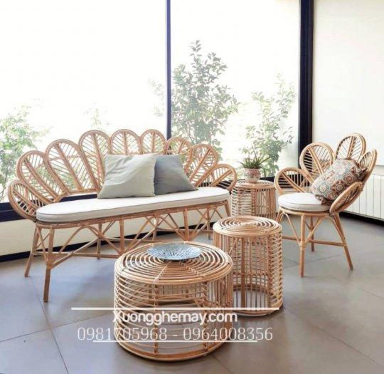 Bộ bàn ghế sofa mây tre, sofa salon mây tre đan7