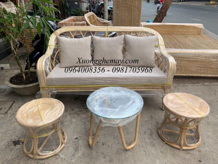 Bộ bàn ghế sofa mây tre, sofa salon mây tre đan5