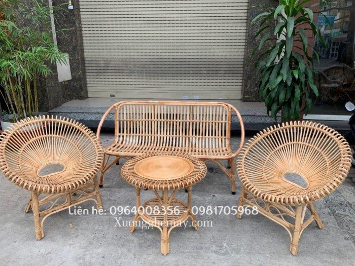 Bộ bàn ghế sofa mây tre, sofa salon mây tre đan4