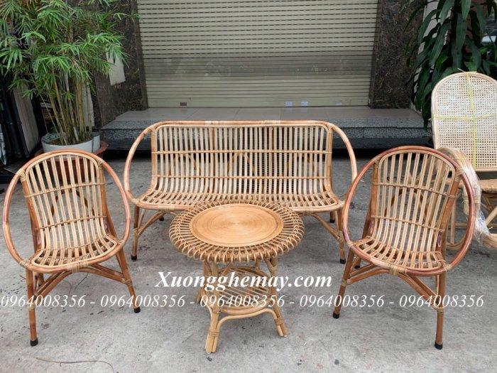 Bộ bàn ghế sofa mây tre, sofa salon mây tre đan3