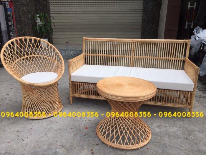 Bộ bàn ghế sofa mây tre, sofa salon mây tre đan2