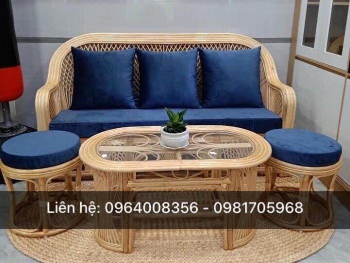 Bộ bàn ghế sofa mây tre, sofa salon mây tre đan1