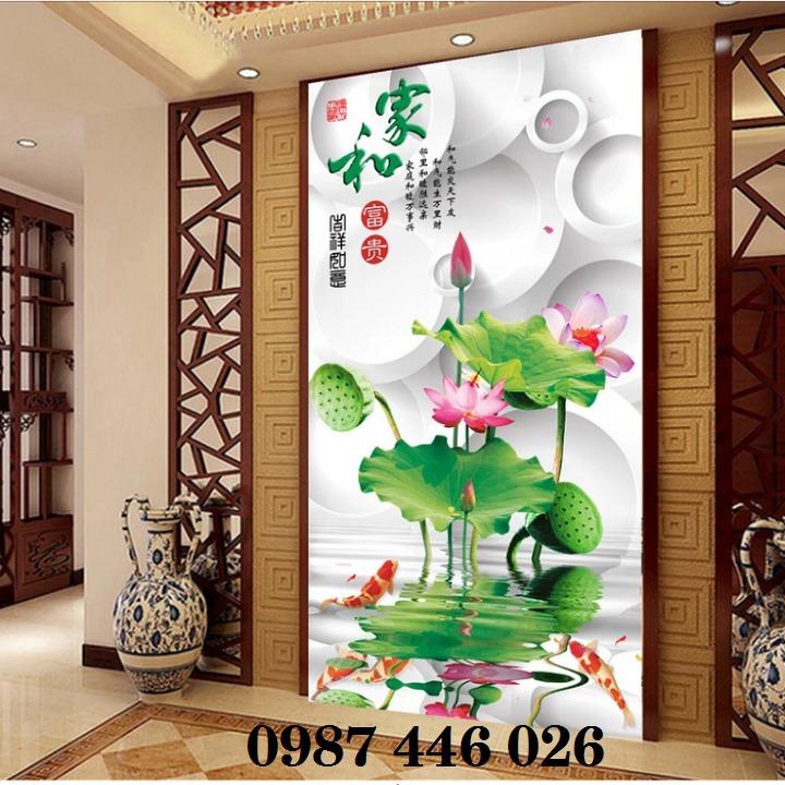 Tranh 3d hoa sen, tranh gạch men HP114512
