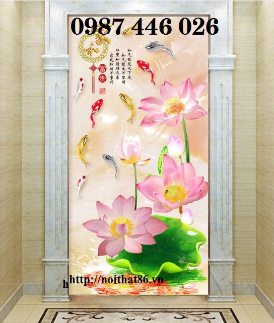 Tranh 3d hoa sen, tranh gạch men HP114511