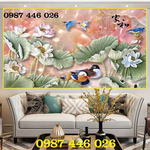 Tranh 3d hoa sen, tranh gạch men HP114510