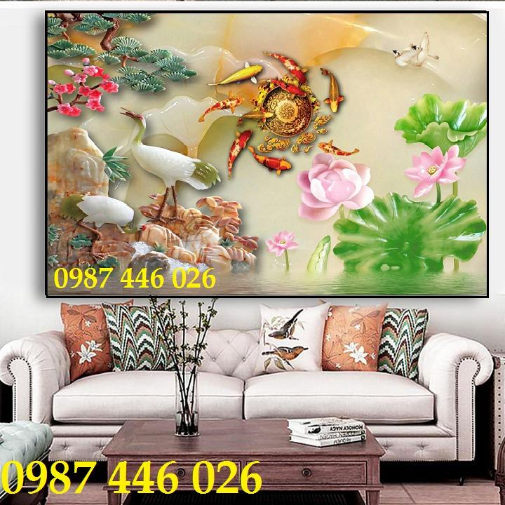 Tranh 3d hoa sen, tranh gạch men HP11459
