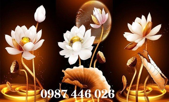 Tranh 3d hoa sen, tranh gạch men HP11458