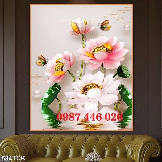 Tranh 3d hoa sen, tranh gạch men HP11456