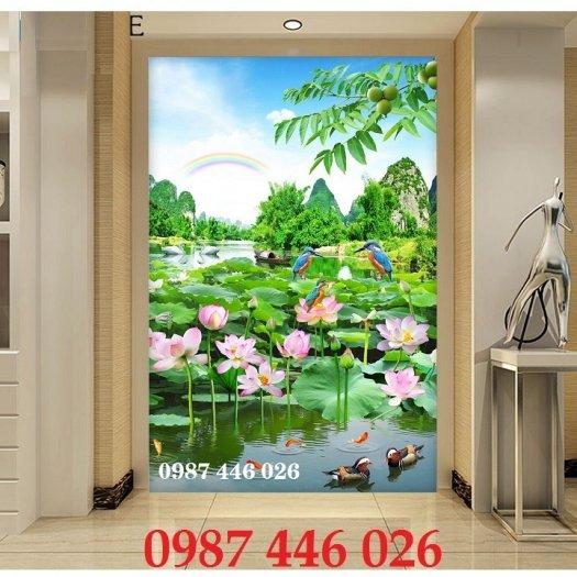 Tranh 3d hoa sen, tranh gạch men HP11455