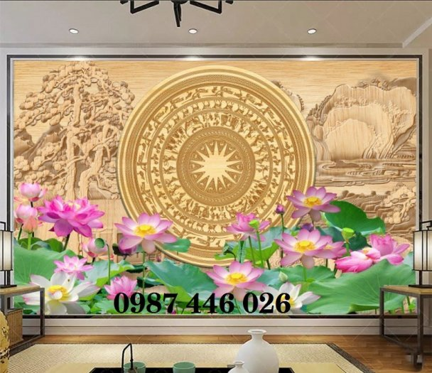 Tranh 3d hoa sen, tranh gạch men HP11454