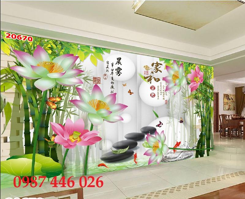 Tranh 3d hoa sen, tranh gạch men HP11453