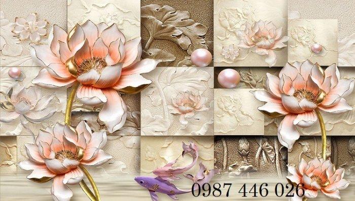 Tranh 3d hoa sen, tranh gạch men HP11452