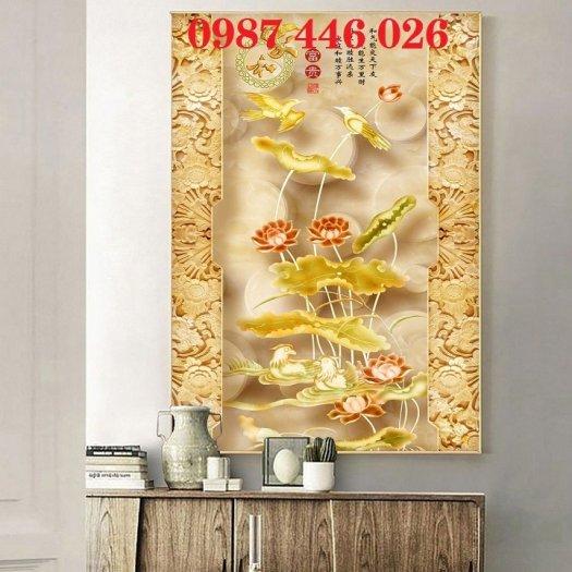 Tranh 3d hoa sen, tranh gạch men HP11451