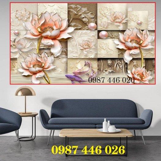 Tranh 3d hoa sen, tranh gạch men HP11450