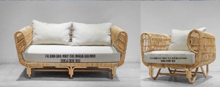 Sofa song mây tự nhiên, bàn ghế mây tre cho phòng khách0