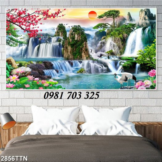 Gạch tranh, tranh 3D phong cảnh phòng khách5