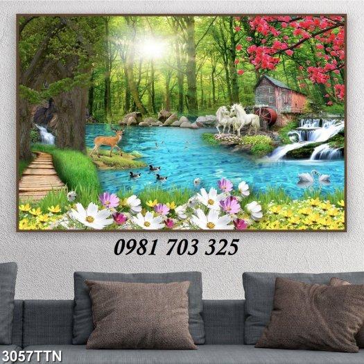 Gạch tranh, tranh 3D phong cảnh phòng khách2