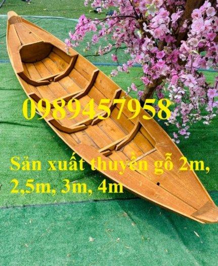 Thuyền gỗ trang trí, Thuyền gỗ trưng bày hải sản 3m, Xuồng gỗ 3m52