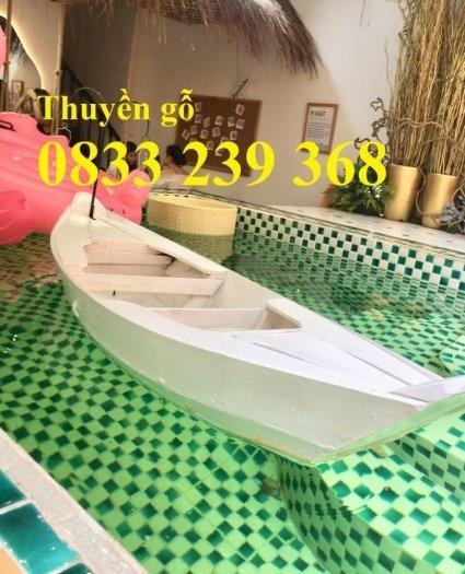 Thuyền gỗ trang trí, Thuyền gỗ trưng bày hải sản 3m, Xuồng gỗ 3m51
