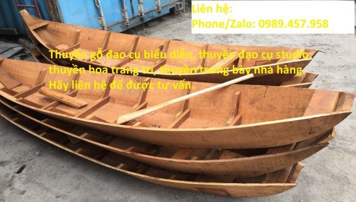 Thuyền gỗ trang trí, Thuyền gỗ trưng bày hải sản 3m, Xuồng gỗ 3m50