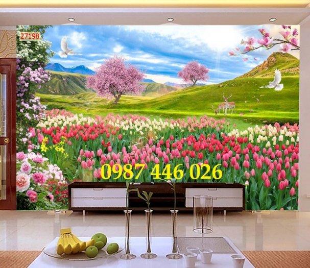 Tranh vườn hoa, gạch tranh ốp tường HP47638