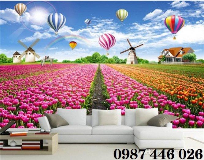 Tranh vườn hoa, gạch tranh ốp tường HP47636