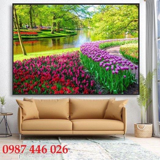 Tranh vườn hoa, gạch tranh ốp tường HP47635