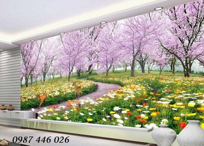 Tranh vườn hoa, gạch tranh ốp tường HP47634