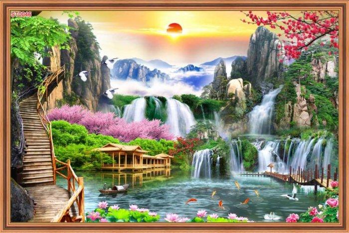 Tranh phong cảnh đẹp - gạch tranh 3D cao cấp0