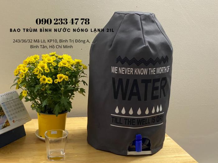 Xưởng May Gia Công Limac Bao trùm bìn nước có vòi 21 lít quảng cáo trang trí  -0902 334 7781