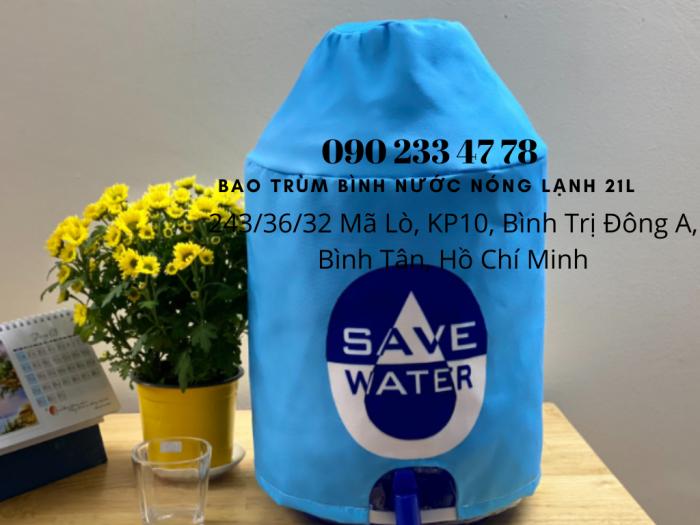 Xưởng May Gia Công Limac Bao trùm bìn nước có vòi 21 lít quảng cáo trang trí  -0902 334 7782