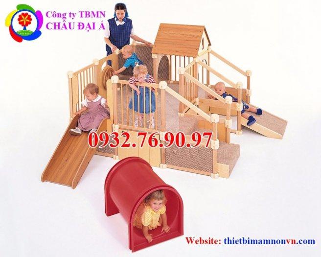 Cầu trượt liên hoàn thể chất bằng gỗ cho trẻ em mầm non.5