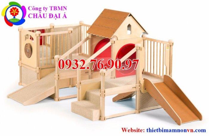Cầu trượt liên hoàn thể chất bằng gỗ cho trẻ em mầm non.4