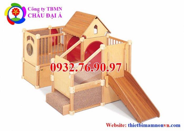 Cầu trượt liên hoàn thể chất bằng gỗ cho trẻ em mầm non.3