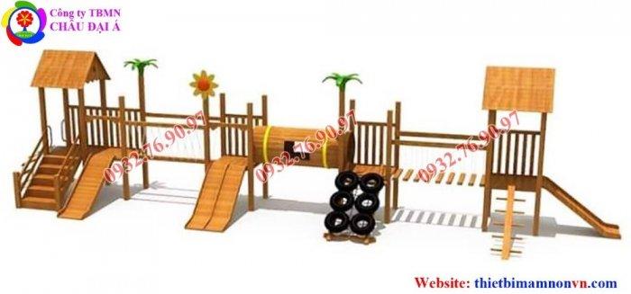 Cầu trượt liên hoàn thể chất bằng gỗ cho trẻ em mầm non.2
