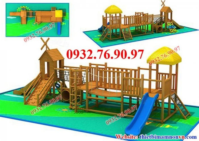 Cầu trượt liên hoàn thể chất bằng gỗ cho trẻ em mầm non.0