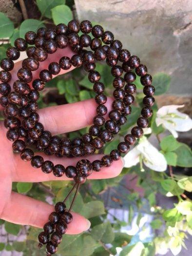Vòng đeo tay Gỗ Trầm Hương quấn tay kiểu size hạt 7mm màu nâu gỗ vân tự nhiên mùi thơm thơm nhẹ4